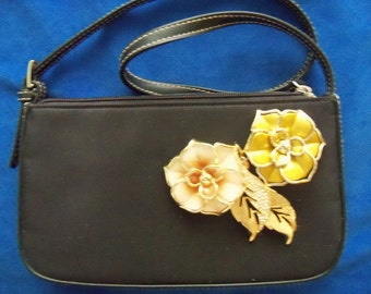Restyled Black Purse Peach Flowers Casual Redesigned Assemblage Tone Leaves Wedding Bridal Party Gift Guide Women