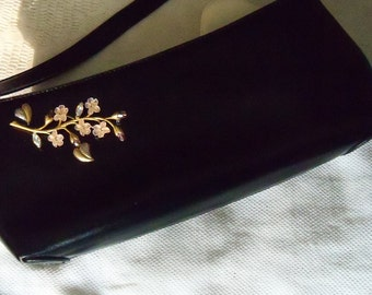 Purse Black with Krementz Brooch Bridal Party Prom Wedding Accessory Redesigned Assemblage Top Handle Handbag Gift