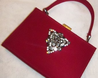 Restyled Purse Red Upcycled GLAM Evening Gray Rhinestone Brooch Bridal Party Prom Mom Holiday Special Occasion Gift Idea Christmas