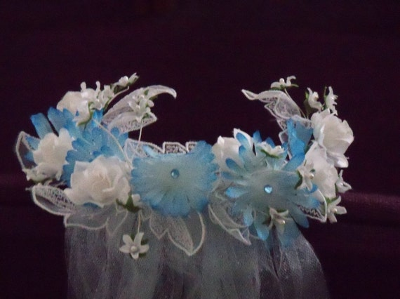 Handmade Veil Flowered Headpiece Aqua Tulle Wedding Bridal Bride Beach Garden Halloween Costume Cosplay