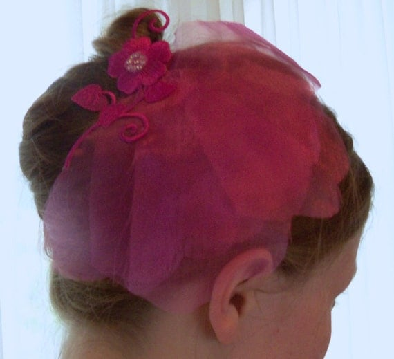 Clearance Fuchsia Hair Ornament Bride Bridesmaid Wedding Prom Party Special Occasion Holiday