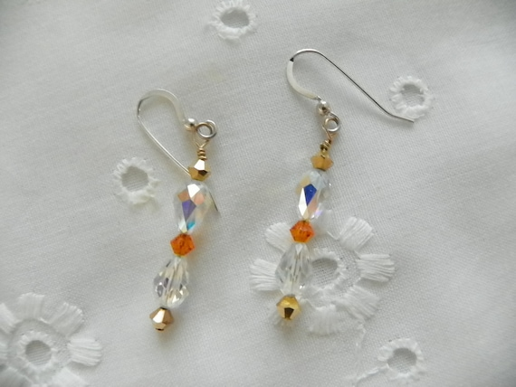 Handmade Earrings for Bride Bridesmaids Clear AB Swarovski Tear Drop Crystals Gold Orange Swarovski Crystal Accents Custom Orders