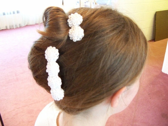 White Flowers Barrette Set for Bride Bridesmaid Flower Girl Wedding Holiday Special Occasion g