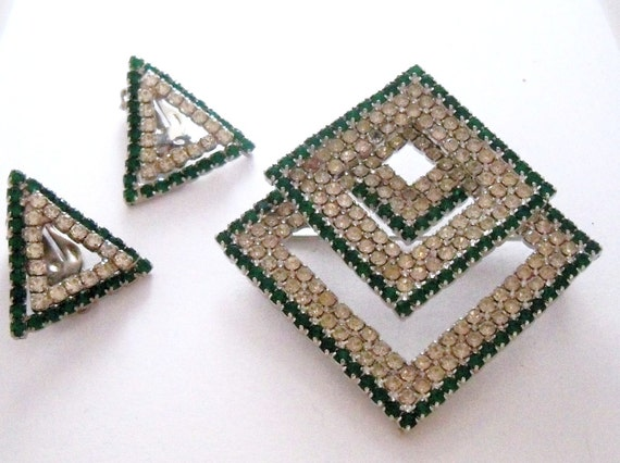 Reserved for Victoria S. Vintage Kramer Brooch and Clip on Earrings in Green and Clear Rhinestones