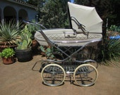 Reserved for Meg Stunning Vintage, Antique Off-White Marmet Coach Built English Pram, Baby Carriage, Stroller 1950s