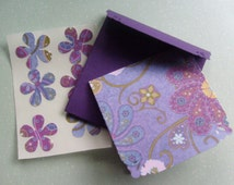 Paisley Purple Mini Note Card Set, 3 X 3 Note cards with Envelopes and Stickers, Set of 8, blank inside, Just Simply Handmade