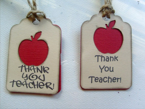 Thank You Teacher Primative Red Apple Gift Tags with distressed edging... Qty 10