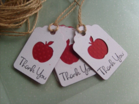 Little Red Apple Gift tags stamped with THANK YOU, made with polka dot embossed cardstock, Cute small gift tags... Qty. 12