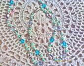 Aqua Blue and Pearl necklace
