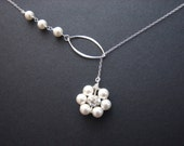 Pearl pendant in sterling silver ring necklace  - STERLING SILVER