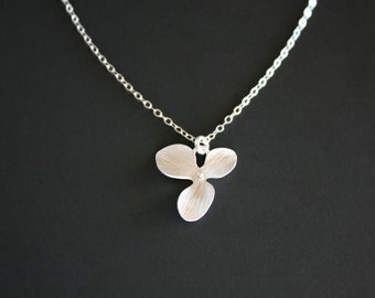 Single orchid necklace in Sterling Silver - one simple flower necklace, girl bridesmaid gift, birthday Christmas gift ideas