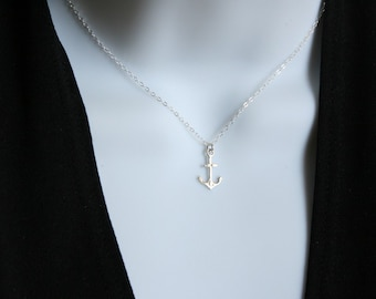 Anchor necklace in Sterling Silver - Cute simple necklace, thank you gift, birthday mothers day gifts ideas for her