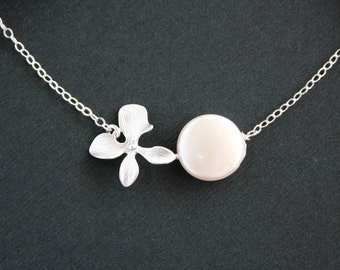 Orchid with pearl coin necklace - Sterling Silver, flower necklace, wedding bridal jewelry, bridesmaids gifts, birthday Christmas gifts