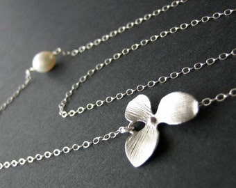 Orchid freshwater pearl necklace - Sterling Silver, wedding bridal jewelry, flower necklace, birthday anniversary gift, bridesmaids gifts