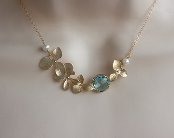 Sweetheart blue glass stone orchid necklace - Wedding Jewelry ,14K gold filled chain