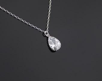 Elegant bezel Swarovski Crystal Teardrop necklace in Sterling Silver - wedding bridal jewelry, birthday gift, gift for mom daughter