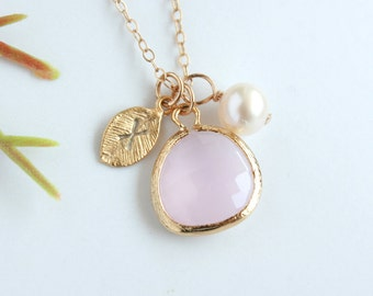 Initial necklace ice pink glass stone in bezel, gold filled chain, pearl necklace, leaf charm - personalized gift, bridesmaids gifts