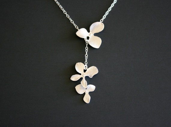 Orchid Flower Lariat Necklace Sterling Silver - wedding jewelry, bridesmaid gift, birthday anniversary gifts, Christmas gifts for her