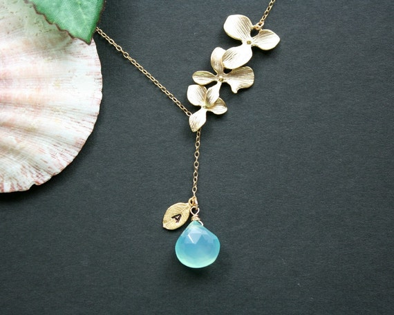 Blue stone, leaf initial, orchid lariat necklace in gold - wedding bridal jewelry, bridesmaids gifts, engraved necklace, gift for mom