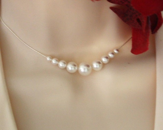 Bridal pearl necklace in Sterling Silver - wedding bridal jewelry, elegant necklace, wedding necklace, birthday gift, anniversary gift