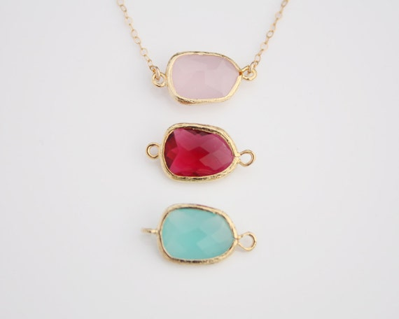 Crystal necklace, Gold Vermeil Bezel Chalcedony 14K Gold Fill Necklace - pink red teal, birthday gift, bridesmaids gifts favor