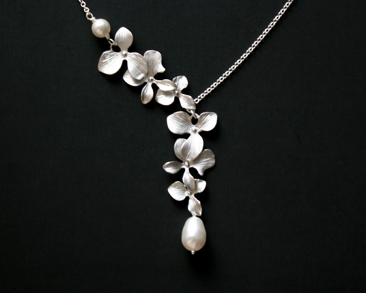orchid flower pearl necklace sterling silver