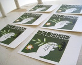 RESERVED for youngwolfie: Green Bookplate - Vintage Ex Libris Hand Planting Plant with Sun