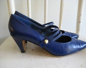 Navy Pumps, Sailor Mary Janes with Gold Button, size 7 Heels