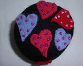 Felted Wool Pincushion Red, Pink and Purple Hearts 15% off sale