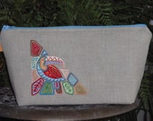 Linen Wristlet Bag Embroidered Tropical Toucan