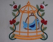 Blue Bird in Cage Embroidered Quilt Block Baltimore Blossoms