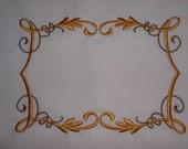 Embroidered Quilt Label Golden Vines