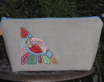 Embroidered Linen Wristlet Bag Colorful Tropical Toucan