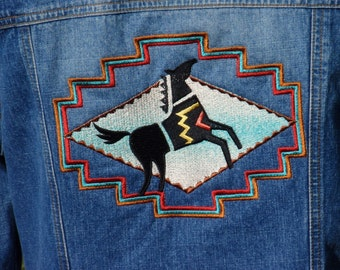 Spirit Horse Embroidered Jean Jacket Upcycled