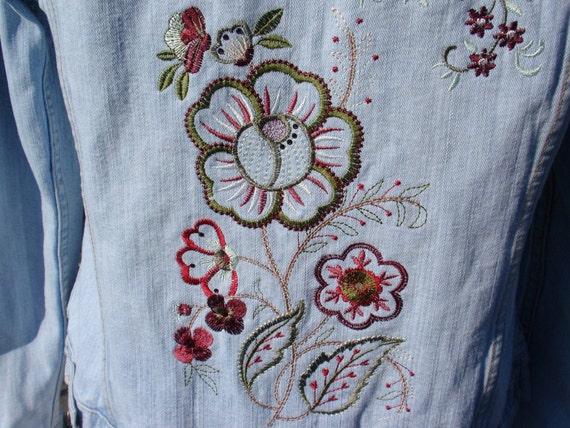 Denim Jacket Embroidered Boho Flowers Upcycled