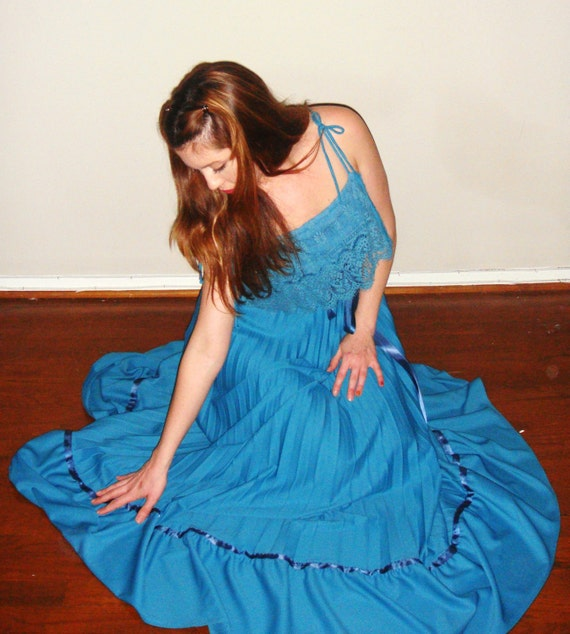 SALE - was 140 -teal pleated dressw/ satin bow