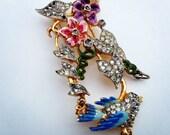 antique bluebird brooch /  30s enamel brooch pin /  antique jewelry