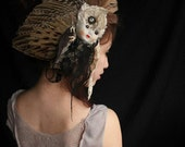 Broken Face- Real Bird Wing Fascinator Clip Oddities Doll Face Taxidermy Teeth Lace