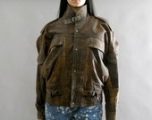 SALE .....vintage brown leather bomber jacket distressed buckled s.m. small. medium