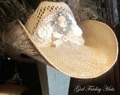 Reserved for Karen. Harlequin Victorian Lace Cameo Cowboy Hat