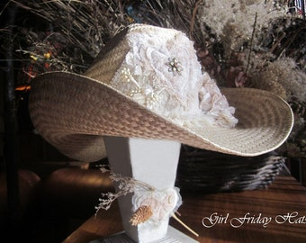 Cowgirl Cowboy Hat Romantic Embellished Winged Heart & Flowers