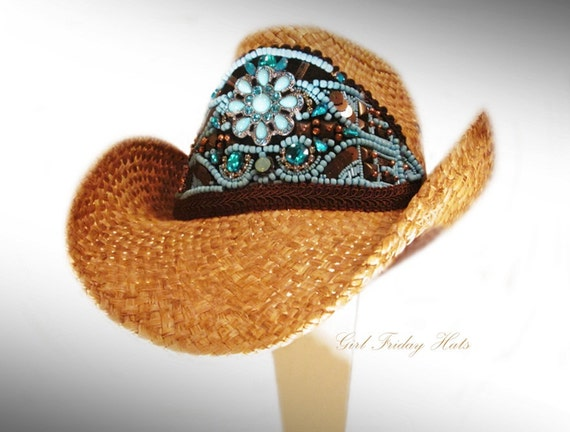 On Vacation: Cowgirl Cowboy Hat Embellished Turquoise Hand Beaded