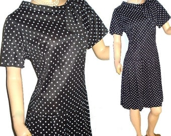 Vintage 1950s Polka Dot Garden Party Rockabilly Cocktail Party Prom Office Wiggle Swing Dress