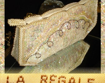 1950s La Regale AB Sequin Beaded Faux Pearl Purse In Original Box  Hand Made in Japan cocktail garden evening prom party dress mad men swing retro rockabilly pinup gown bombshell hourglass pencil full circle gown dress purse handbag