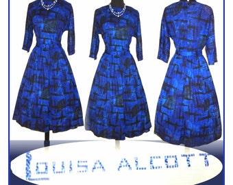 Vintage 1950s Dress . Designer Full Circle Skirt Dress Femme Fatale Garden Party Mad Men Pinup Rockabilly Ballerina Cupcake