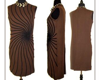Vintage 1960s Dress 60s Black Brown Designer Couture Femme Fatale Mad Man Rockabilly Retro Pinup Bombshell Designer Garden Party