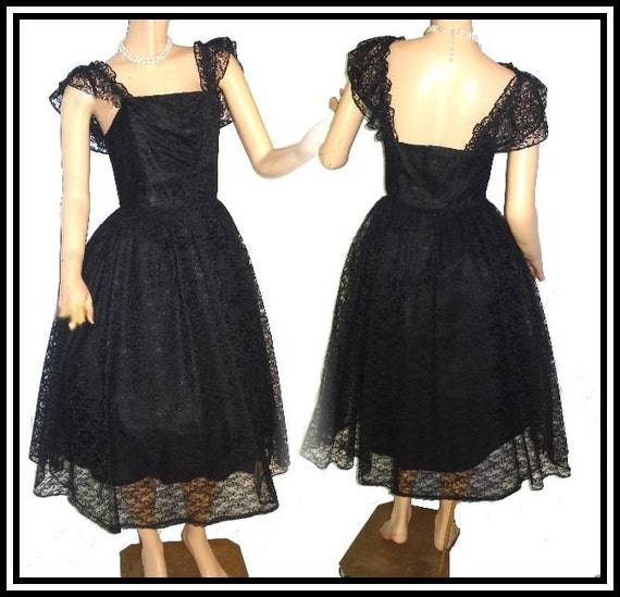 Vintage 1950s1960s Mad Men Black Lace Designer Pinup Sexy Sex Kitten Retro Cocktail Party Rockabilly Full Circle-Skirt Swing Princess Bombshell Formal Wedding Cocktail Prom Party Dress