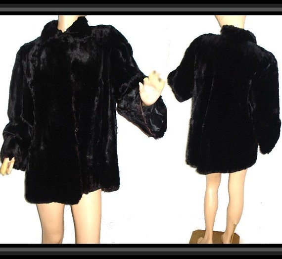 Vintage Real Fur Black Sheared Beaver Jacket Couture Luxurious Fur Bombshell Pinup garden party mad men Swing Formal Wedding Evening Cocktail Dress Coat Jacket Shawl Shrug real fur