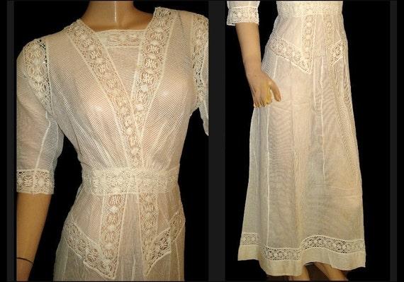 1910's Antique Vintage Crisp-White Cotton Linen French-Crocheted Lace Edwardian Victorian Tea-Length  Gown Art-Nouveau Lawn Dress