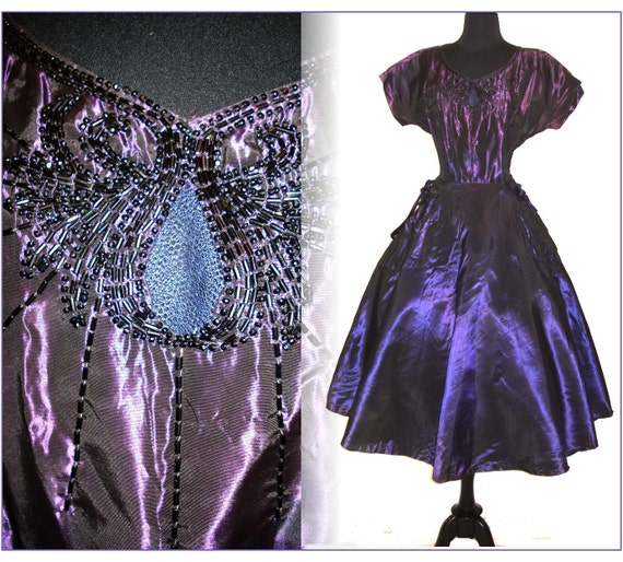 Vintage 1940s 1950s Garden Party Purple Beaded Dress Femme Fatale Mad Men Pinup Rockabilly Cupcake Bombshell Full Circle